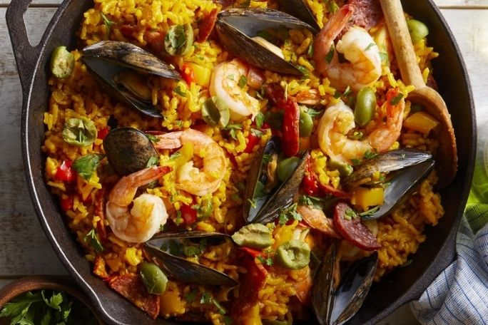 Seafood and Chorizo Paella with Bell Peppers